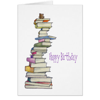 Teddy Bear Books Birthday Card