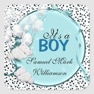 Teddy bear boy baby announcement stickers