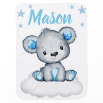 Teddy Bear Boy Baby Blankets Star Blue Name
