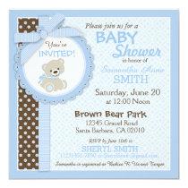 Teddy Bear Boy Baby Shower Blue Card