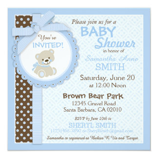 Teddy Bear Boy Baby Shower Blue Card