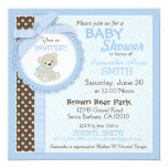 Teddy Bear Boy Baby Shower Blue Personalized Announcement Cards