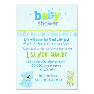 "Teddy bear boy baby shower invitation 5"" x 7"" invitation card"