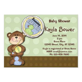 Teddy Bear Boy Brown Green Baby Shower Card