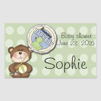 Teddy Bear Boy Brown Green Rectangular Sticker