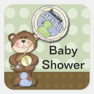 Teddy Bear Boy Brown Green Square Sticker