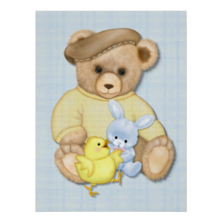 Teddy Bear Boy Nursery Fun Poster