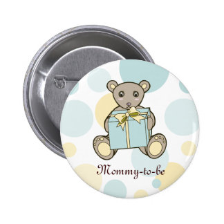 Teddy Bear Boy or Girl Baby Shower Mommy-to-be Button