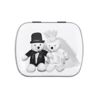 Teddy bear bride and groom candy tins