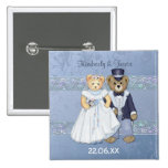 Teddy Bear Bride and Groom Wedding - Customize Buttons