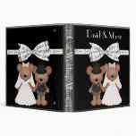 Teddy Bear Bride & Groom Wedding 3 Ring Binder