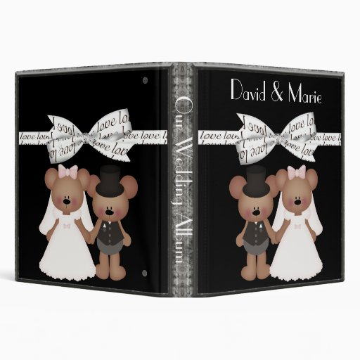Teddy Bear Bride & Groom Wedding 3 Ring Binder