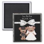 Teddy Bear Bride & Groom Wedding Magnets