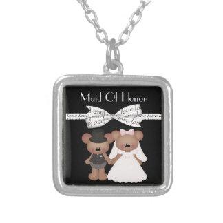 Teddy Bear Bride & Groom Wedding Silver Plated Necklace