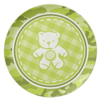 Teddy Bear bright green camo camouflage Plates