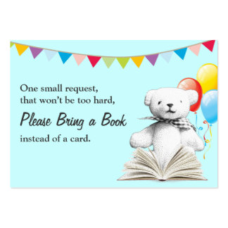 Teddy Bear Bring a Book Request Baby Shower Insert Large Business Card