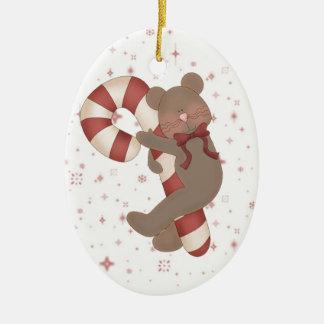 Teddy Bear Candy Cane Ceramic Ornament