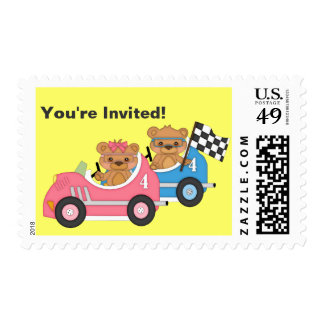 Teddy Bear Car Gender Reveal Postage