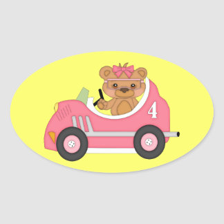 Teddy Bear - Car Theme -Gender Reveal Girl Sticker