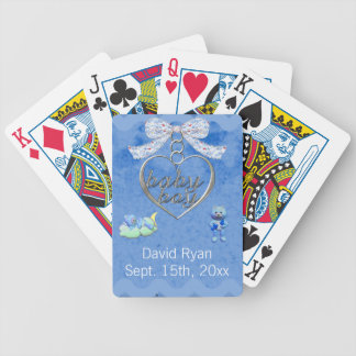 Teddy Bear Charm Boy Blue Baby Shower Bicycle Playing Cards