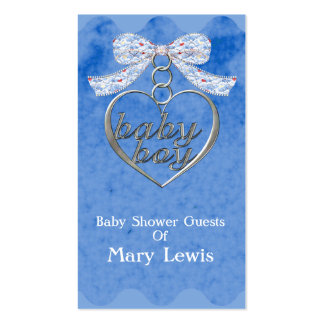 Teddy Bear Charm Boy Blue Baby Shower Business Card