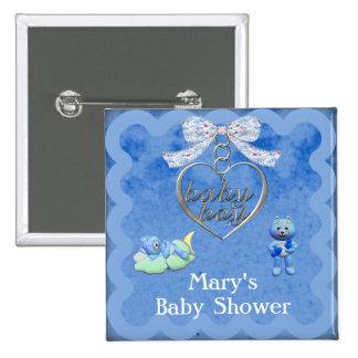 Teddy Bear Charm Boy Blue Baby Shower Pinback Button