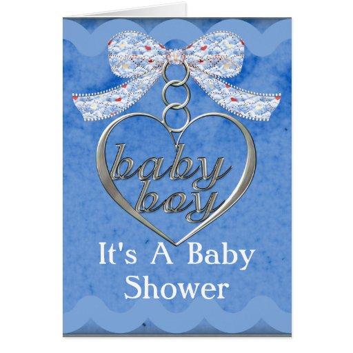 Teddy Bear Charm Boy Blue Baby Shower Greeting Cards