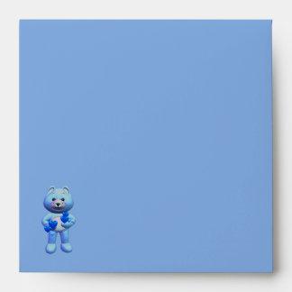 Teddy Bear Charm Boy Blue Baby Shower Envelope