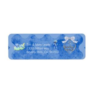 Teddy Bear Charm Boy Blue Baby Shower Custom Return Address Label
