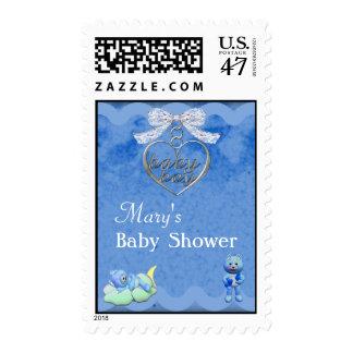 Teddy Bear Charm Boy Blue Baby Shower Postage