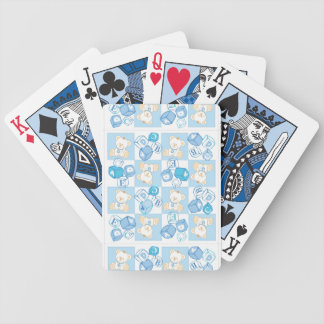 Teddy bear checked pattern bicycle playing cards