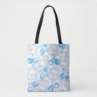 Teddy bear checked pattern tote bag