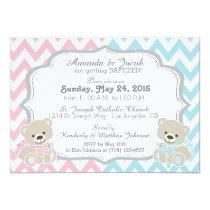 Teddy Bear Chevron Cross Twins Boy Girl Baptism Card