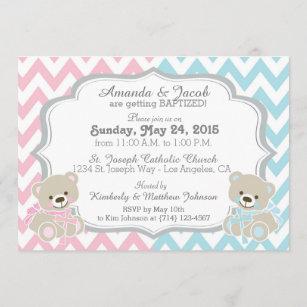 embossed teddy bear SAMPLE Handmade Christening invitation