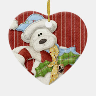 Teddy Bear Christmas Ceramic Ornament