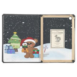 Teddy Bear, Christmas Tree, Cute Snow Scene Cover For iPad Air