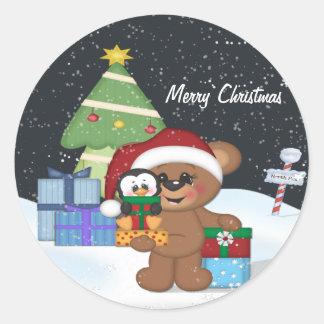 Teddy Bear, Christmas Tree, Cute Snow Scene Classic Round Sticker