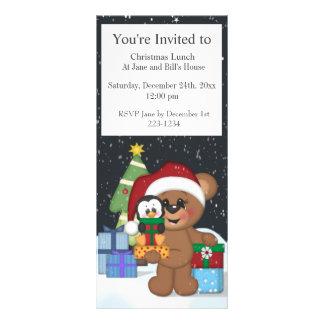 Teddy Bear Christmas Tree Cute Snow Scene Rack Cards