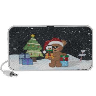 Teddy Bear, Christmas Tree, Cute Snow Scene Mp3 Speakers