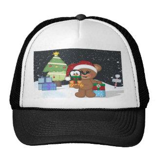 Teddy Bear, Christmas Tree, Cute Snow Scene Trucker Hat