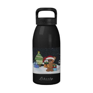 Teddy Bear Christmas Tree Cute Snow Scene Water Bottle