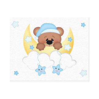 Teddy Bear Cloud Star Moon Woodland Forest Animal Canvas Print