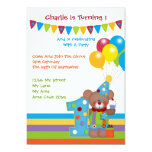 Teddy Bear Clown First Birthday Party Card