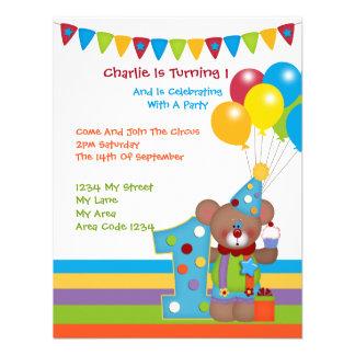 Teddy Bear Clown First Birthday Party Custom Invitation