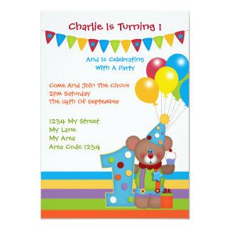 Teddy Bear Clown First Birthday Party 5x7 Paper Invitation Card