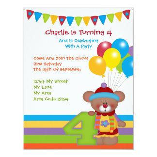 Teddy Bear Clown Fourth Birthday Party Card