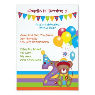 Teddy Bear Clown Second Birthday Party Card
