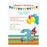 Teddy Bear ClownThird Birthday Party Card