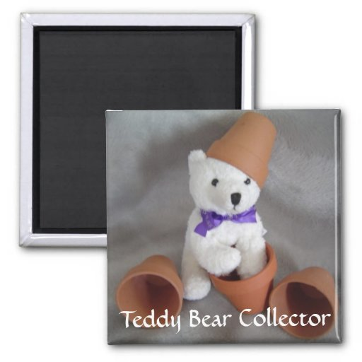 Teddy Bear Collector 2 Inch Square Magnet