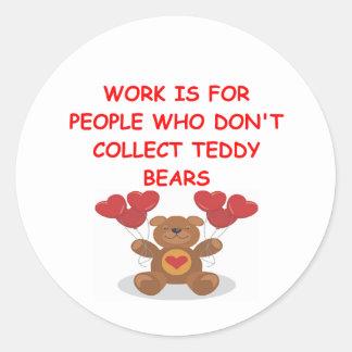 teddy bear collector classic round sticker